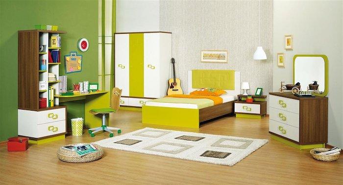 möbel set, jugendzimmer gestalten, parkett aus hellme holz, grüne wand