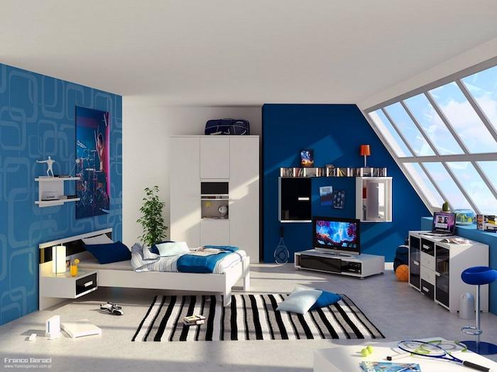 jugendzimmer gestalten, blaue wände, wandtapete mit geometrischem muster, große fenster