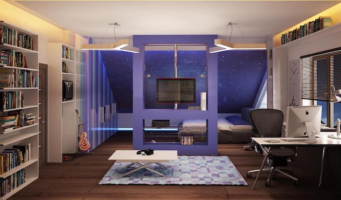 jugendzimmer gestalten, lila wände, teppich mit geometrischem motiv, große regale