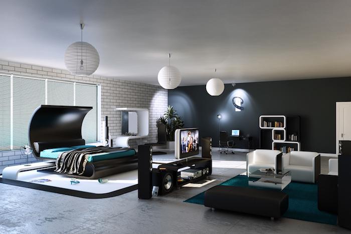 jugendzimmer gestalten, designer möbel in schwarz und weiß, runde pendelleuchten, weiße ziegelwand