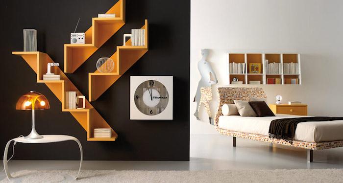 jugendzimmer gestalten, schwarze wand, orangenfarbene regale, runder weißer tisch