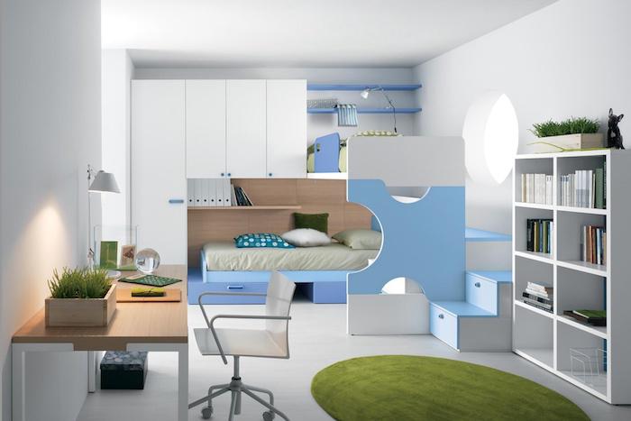 jugendzimmer gestalten, runder grüner teppich, möbel set in weiß und hellblau