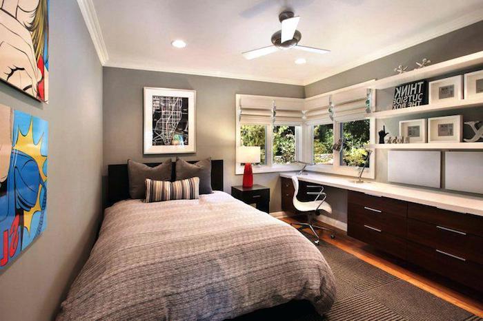 jugendzimmer ideen für kleine räume, graue wände, großes bett, langer schrank mit schreibtisch