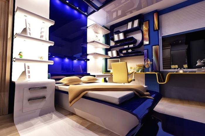 jugendzimmer ideen für kleine räume, regale mit led belcuhtung, gelber bürostühl, designer möbel