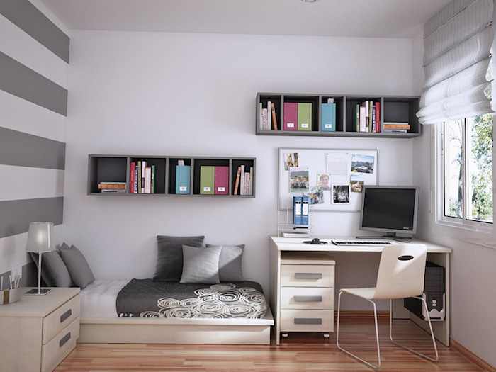 jugendzimmer ideen für kleine räume, weiße wände, lange graue regale, weißer schreibtisch mit unterschrank