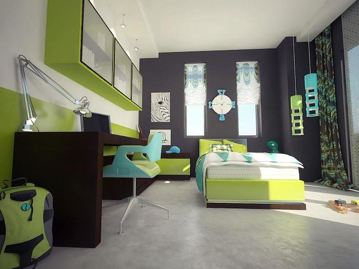 jugendzimmer ideen für kleine räume, einrichtung in grün und grau, schreibtisch aus dunkelm holz