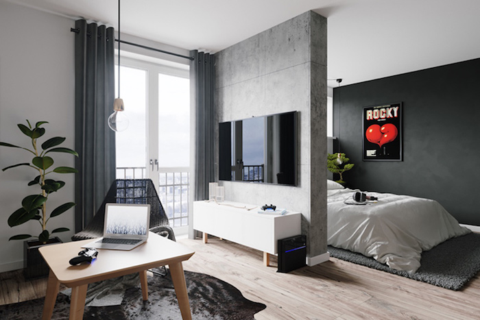 jugendzimmer jungen, graue wände, tishc aus holz, grüne pflanze, hängende lampe