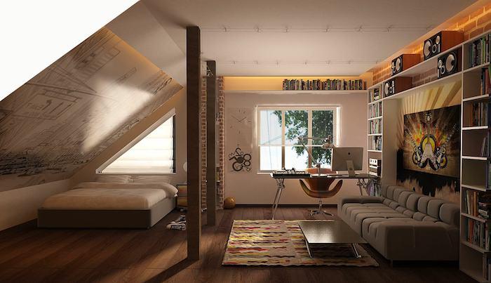 jugendzimmer jungen, großes graues sofa, viele regale mit bücher, boden aus holz