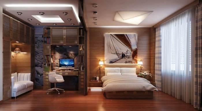 jugendzimmer jungen, abgehängte decke mit led beleuchtung, weißer stuhl, abstraktes bild