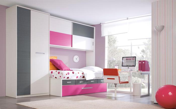 jugendzimmer mädchen modern, rosa ball, bett mit schrank, möbel set in grau, rosa und weiß