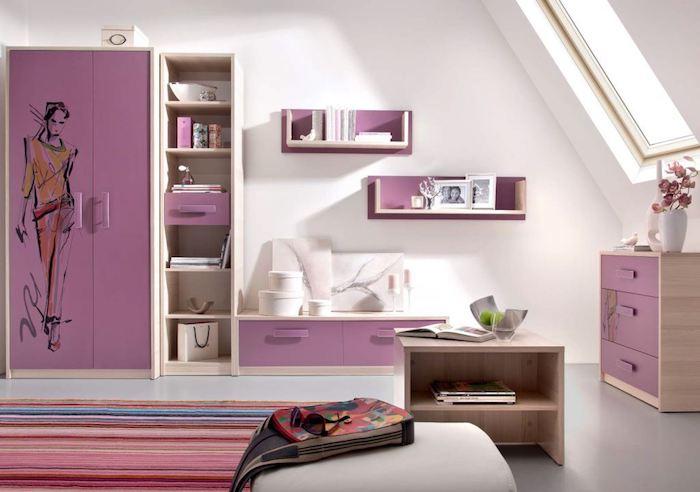 rosa schrank mit zeichnung, jugendzimmer mädchen modern, gestreifter teppich