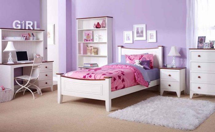 weißer flauschiger teppich, jugendzimmer mädchen modern, einrichtungsideen für mädchenzimmer