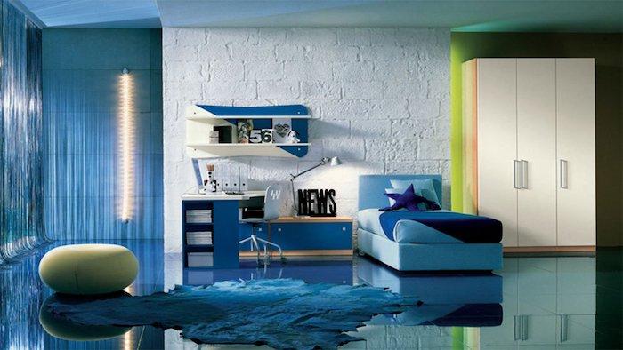 jugendzimmer einrichten, runder hocker, große lampe, blauer bodenbelag