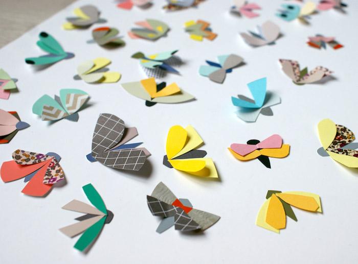 Bunte Schmetterlinge aus Papier schneiden, lustige DIY Idee für Kinder