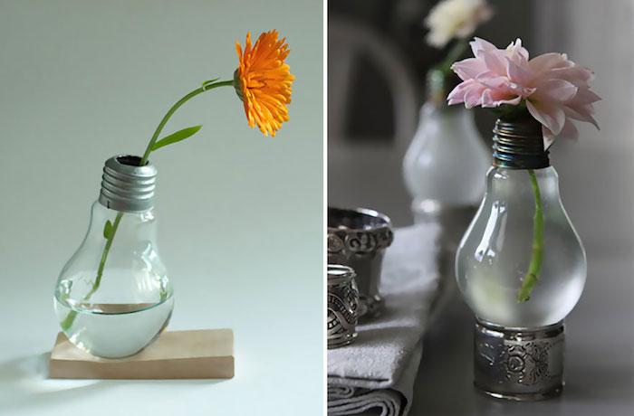 recycling basteln, zwei kleine vasen mit wasserund mit orangen und violetten blumen mit grünen blättern, geschenke selber basteln