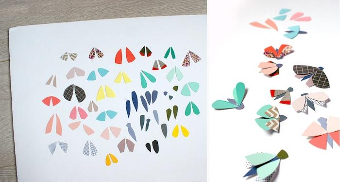 Kleine Schmetterlinge aus buntem Papier ausschneiden, DIY Idee für Kinder