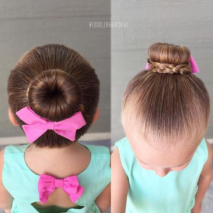 Dutt Frisur mit dünnem Zopf, violette Schleife und grünes Kleid, Hochzeitsfrisuren für Kinder