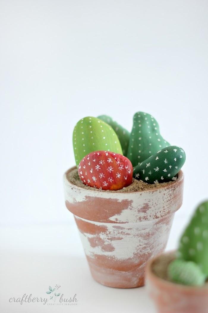 Kakteen Steine in Blumentopf, DIY Idee für originelle Deko für Zuhause