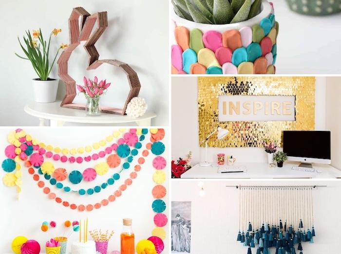 kreatives gestalten die schönsten ideen zum selbermachen, selbstgemachte wanddekoration, diy bastelideen, hase aus holzstäbchen, blumentopf dekoriert mit buntem ton