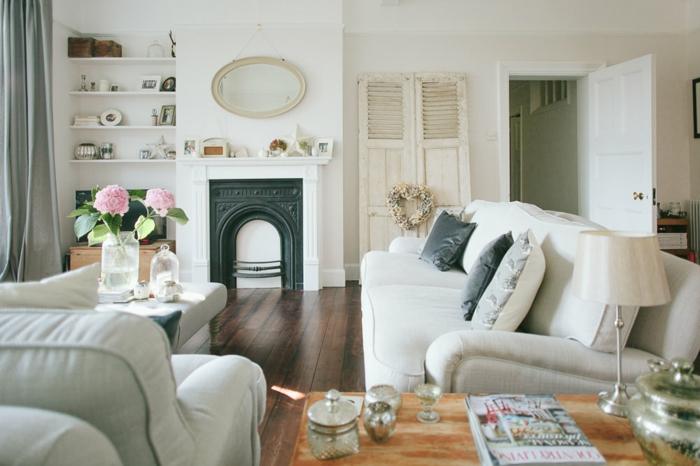 wohnzimmer landhausstil idee zum gestalten des wohnzimmers, weiße zimmergestaltung, kamin künstlich