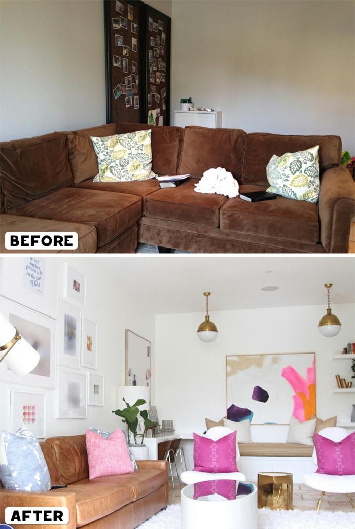 deko wohnzimmer neu gestalten, idee das dunkle interior in einem hingucker verwandeln, weißes zimmerdesign mit bunten azenten, pink, orange