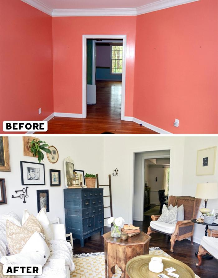 ein leerer raum mit einrichtung und deko wohnzimmer gestalten, kleines zimmer größer einrichten, viele deko elemente an der wand bilder, schränke