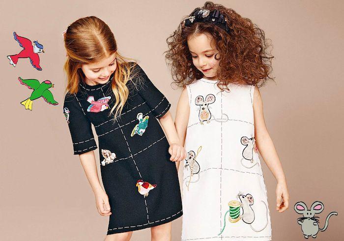 Outfits und Frisuren für besondere Anlässe, Kindermode Inspiration, Kleider mit Vögeln und Mäusen