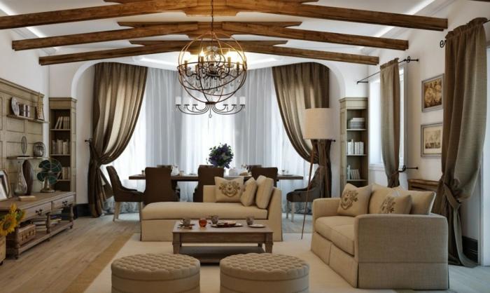 wohnzimmer ideen modern, großartiges zimmer, beige und braun, vorhänge, dekorationen und einrichtung zum faszinieren, landhaus wird mit großen zimmern verbunden
