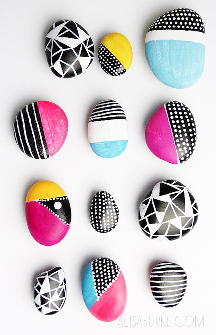 Bunte Steine selber machen, Steine mit Acrylfarben bemalen und dekorieren