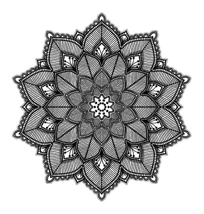 malvorlagen kostenlos ausdrucken, große blume mit schatten, indisches motiv