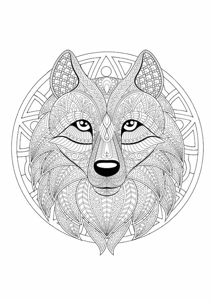 malvorlagen kostenlos ausdrucken, wolfkopf mit vielen geometrischen elementen