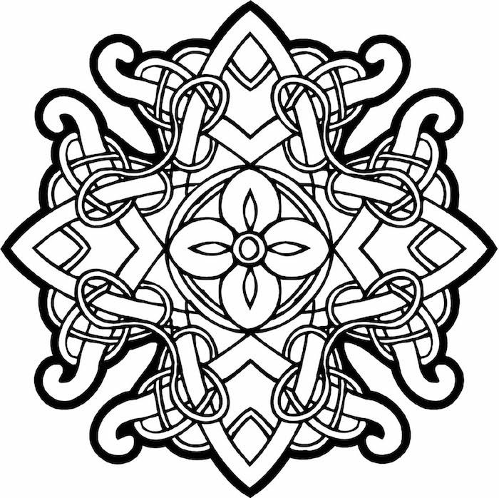 mandala ausdrucken, dicke linien, keltisches symbol, schablone zum ausmalen