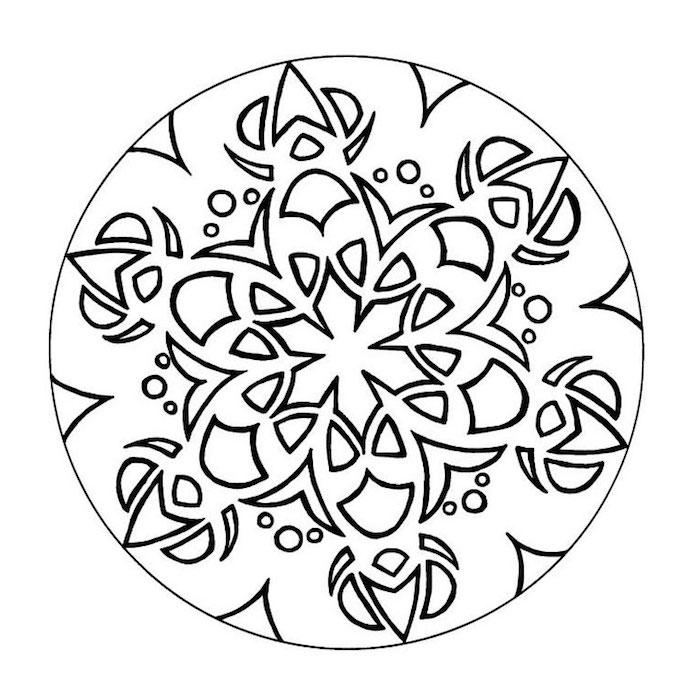 mandala ausdrucken, einfache template, schwarze linien, großer kreis