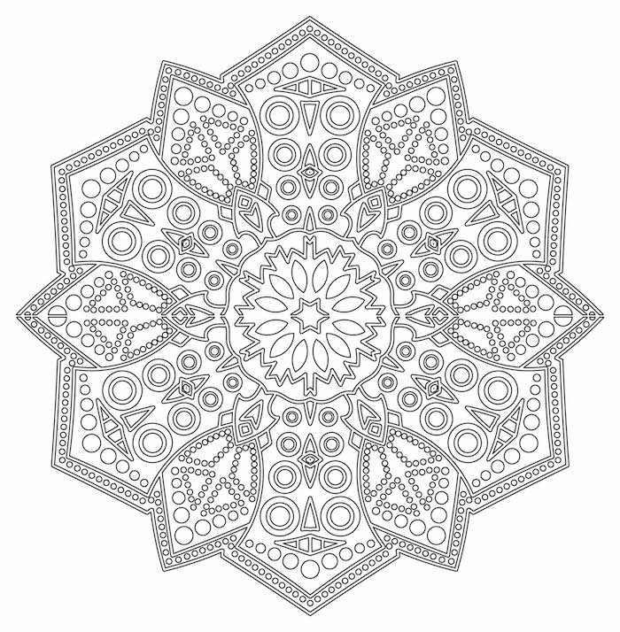 mandala ausdrucken für fortgeschrittene, großer sechseck, geometrische elemente