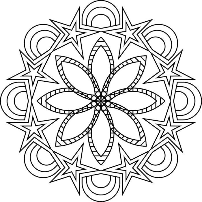mandala ausdrucken, sterne mit blüte und halbkreise, kostenlose schablone