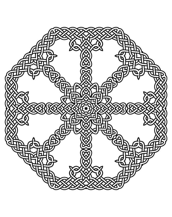 viele zusammengebundene elemente, mandala ausdrucken, vorlage