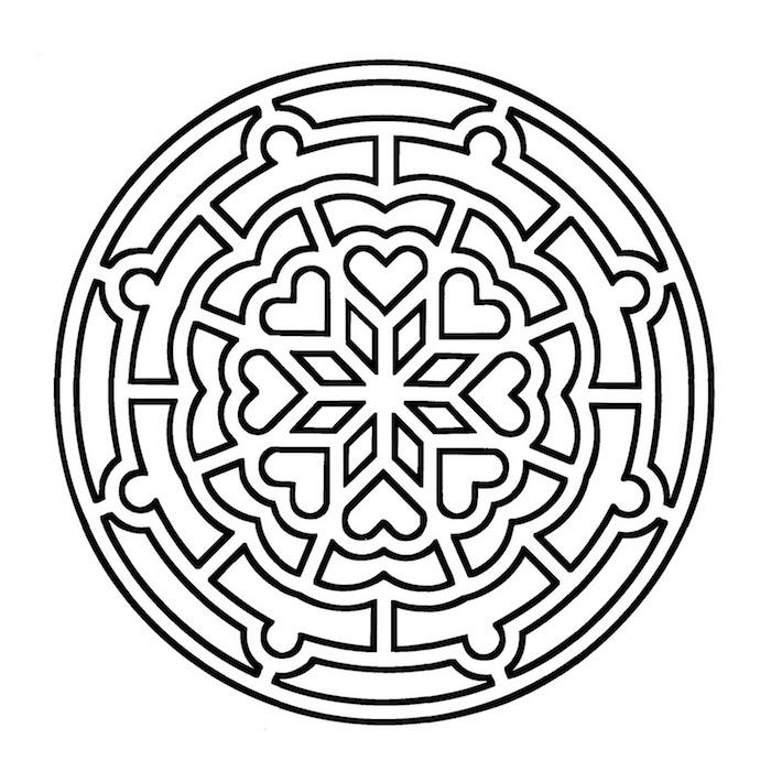 mandala ausdrucken, herzen in kombination mit vierecke, großer kreis