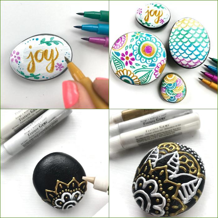 Steine selber dekorieren, verschiedene Ideen und Techniken, DIY schönes kleines Geschenk