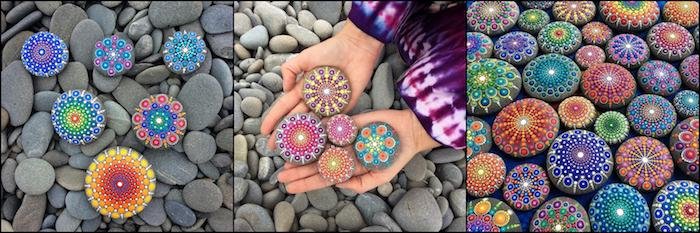 Mandala Steine malen, verschiedene Techniken, echte Kunstwerke aus Steinen