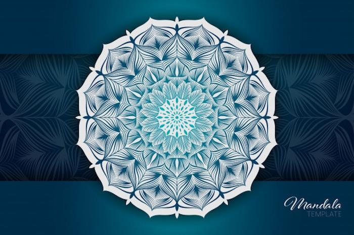 mandala vorlagen, blauer hinterdund, weißes symbol mit vielen details