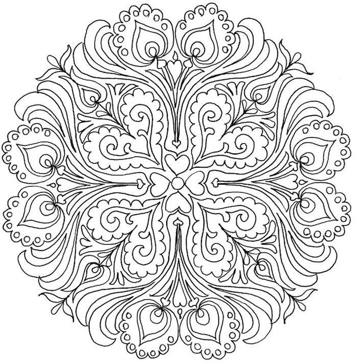 mandala vorlagen kostenlos herunterladen, schwarze linien, gratis schablonen