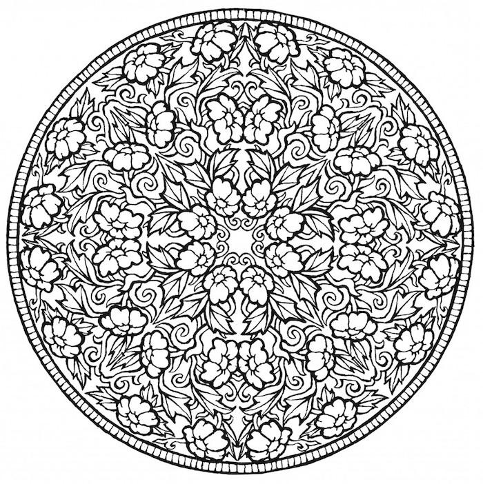mandalas ausmalen, blumenranken und kleinen blumen, großer kreis