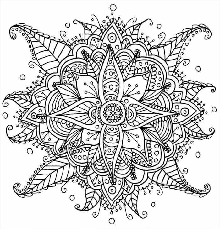 mandalas ausmalen, blume mit blättern, abstrakte zeichnung, mehndi