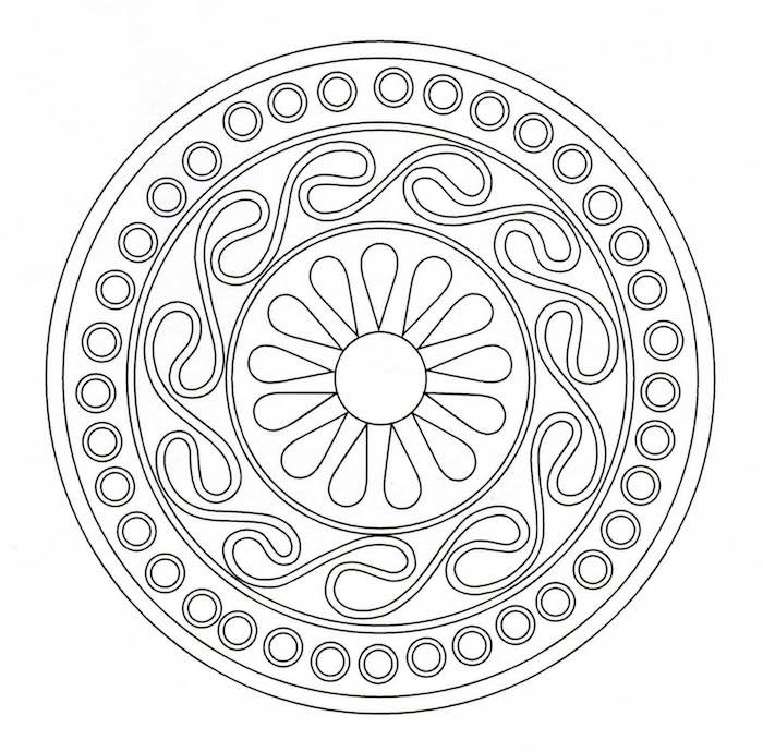 mandalas ausmalen für anfänger, einfache vorlage, malen in der freizeit
