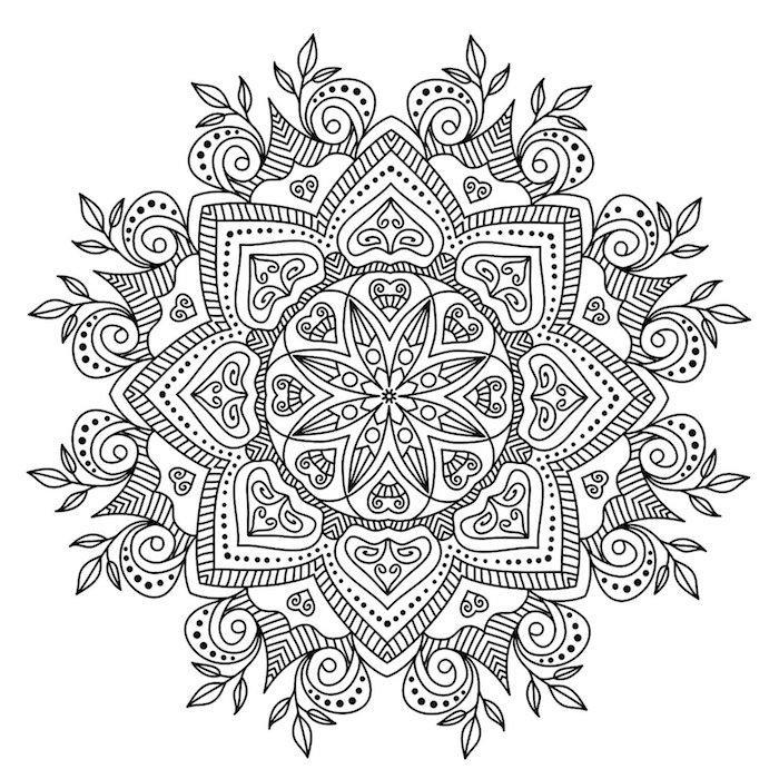 schwarze linien, mandalas ausmalen, symmetrische florale motive