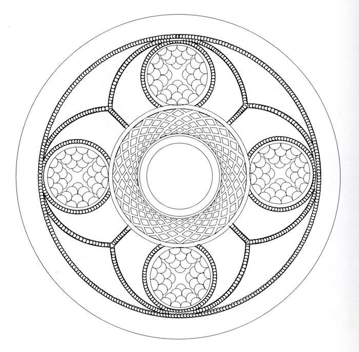 mandalas ausmalen, viele symmetrische kreise, geomtrische elemente