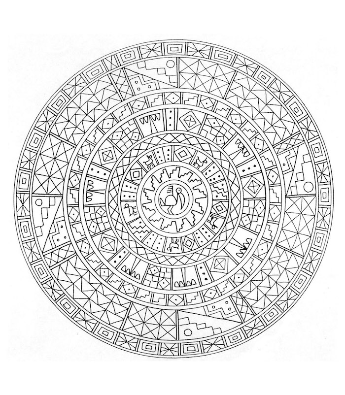 mandalas ausmalen, viele details, sonne in der mitte, dreiecke und vierecke
