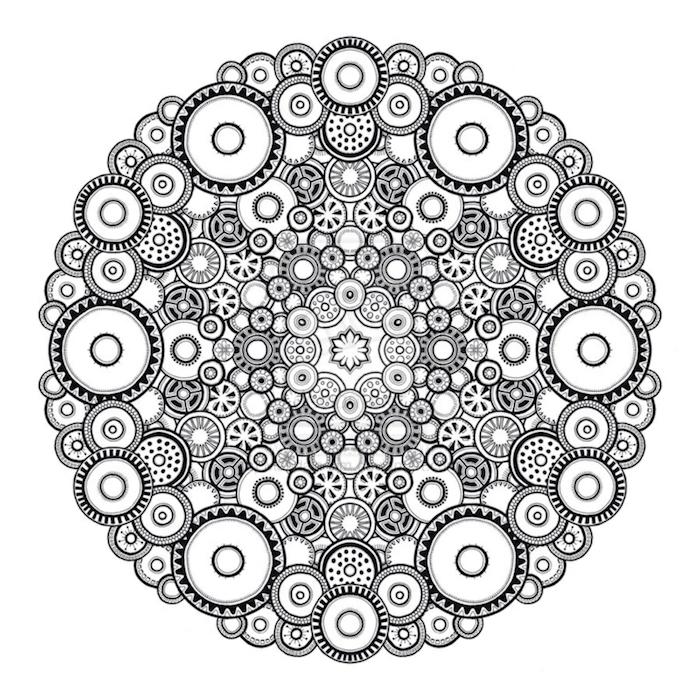 mandalas ausmalen, vorlage mit vielen kreisen, schablone mit vielen details