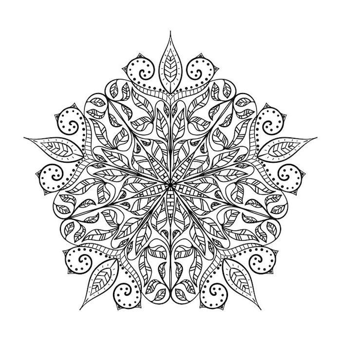 mandalas zum ausdrucken, viele blumenranken, weißer hintergrund, große schablone