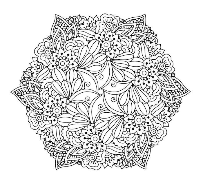 mandalas zum ausdrucken, kleine blumen und blätter, blumenranken, template kostenlos
